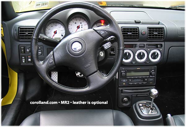 Interior of the toyota mr2