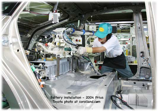 Toyota factory: installing a Prius battery