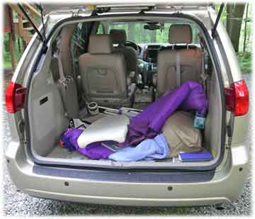 cargo bay of toyota minivan