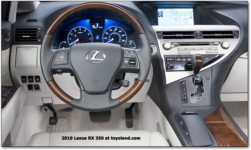 2010 Lexus dashboard - RX. The third generation RX 350 will be powered by an